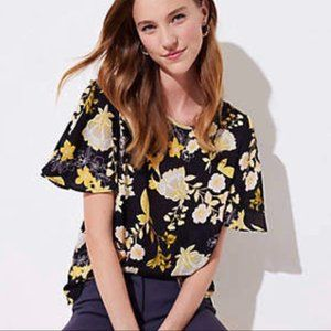 LOFT Floral Blouse with Flutter Button Sleeves